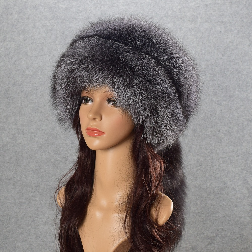 winter hat beanies skullies women cap warm fur pompom Thick Natural Fox fur cap real fur hat women knitted hat female cap