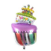 Colorful 103CM Kids Foil Balloons Happy Birthday Cake Balloon Baby Birthday Toys Gift For Party Decora Children Helium Ballon