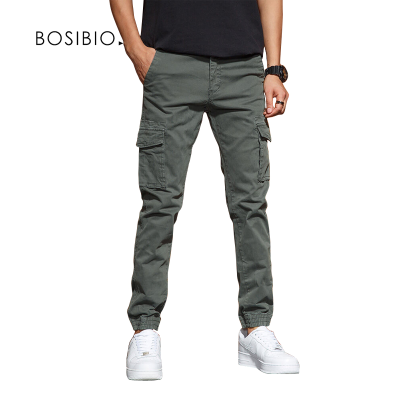 BOSIBIO Mens Slim Fit Multi Pocket Cargo Pants Male Solid 2018 New Joggers High Quality Long Trousers G3552(China)