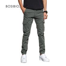 BOSIBIO męskie Slim Fit Multi Pocket Cargo spodnie męskie stałe 2018 nowy biegaczy wysokiej jakości długie spodnie G3552 tanie tanio Mężczyźni Pełnej długości Na co dzień Elastan COTTON 2 42-3 24 Kieszenie REGULAR Midweight Suknem Cargo pants Zipper fly