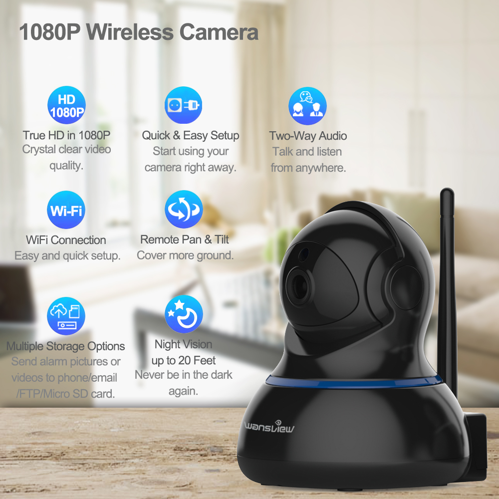 US $99 98 |Wansview Q3s 2MP Wireless 1080P HD IP Camera WiFi Security  Surveillance Indoor Home CCTV Camera Alarm P2P Monitor PZT onvif RTSP-in