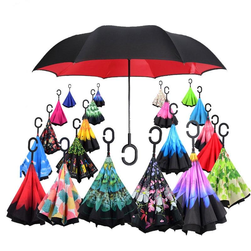 Double Layer Inverted Umbrellas with Cool Purple Fleur De Lis Print Reverse Folding Umbrella for Car