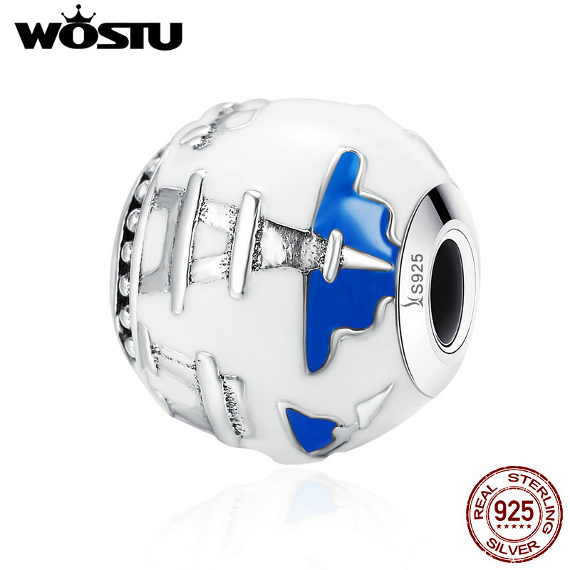 WOSTU 100% 925 Sterling Silver Travel the World Eiffel Tower Beads fit original Charm Bracelets For Women Jewelry Gift CQC232