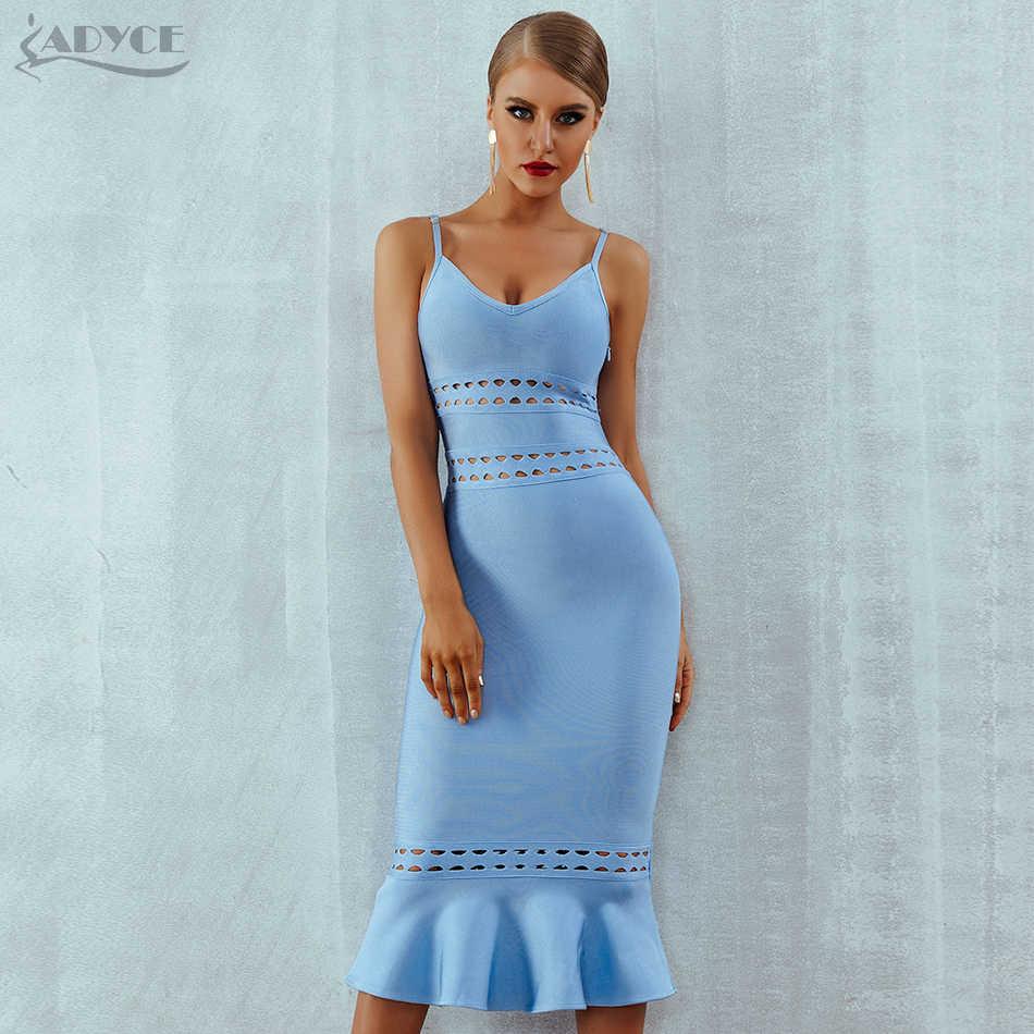 2d07419584b Adyce 2019 новые летние женские Бандажное платье голубого цвета бретелька  Русалка Vestidos v-образный вырез