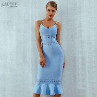 Adyce New Summer Women Bandage Dress 2018 Blue Spaghetti Strap Mermaid Vestidos V Neck Hollow Out Celebrity Evening Party Dress