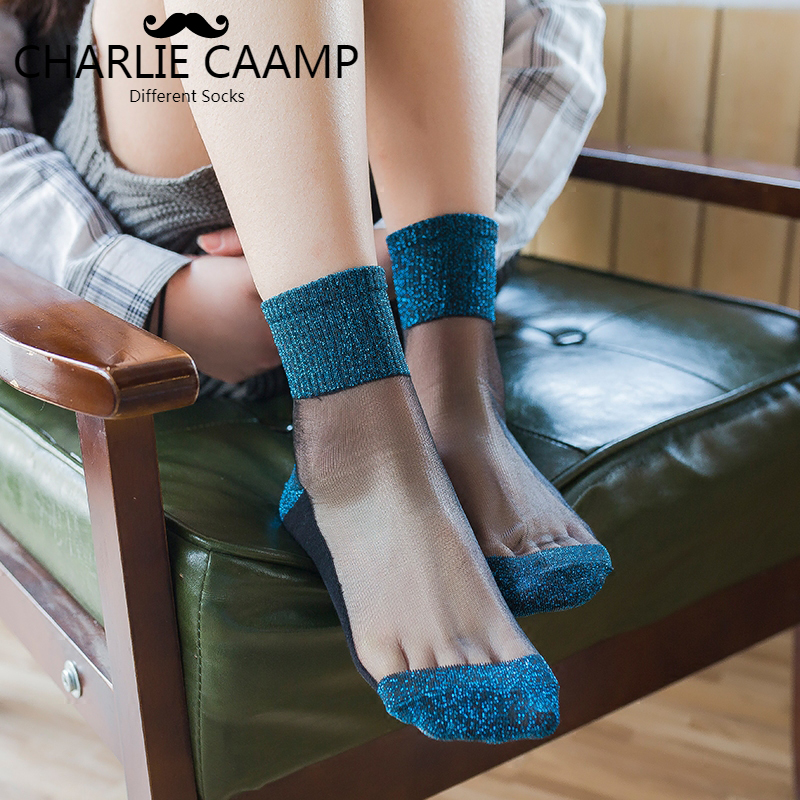 2018 New Arrivals Ladies Fashion Summer Nylon Thin Transparent Shiny Glass Series Women Trend Charm Crystal Lace   Socks   G103
