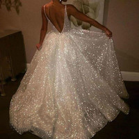 Women's sexy V neck sleeveless vest solid color sexy transparent strap wedding party long dress white the dress #30 new