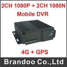 High Quality 4CH dual SD Mobile Car DVR Mobile DVR 4 Channel digital video recorder with 4G and GPS function.