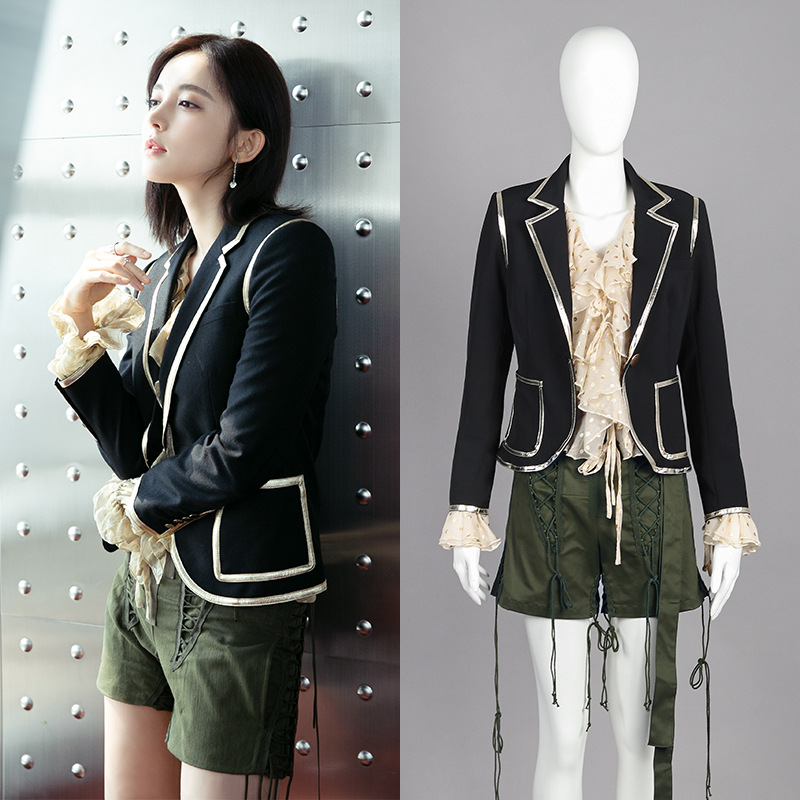 Qi Wei Gulinaza's Same Suit In Autumn 2019 Stitching British Jacket Button Notched Single Button Patchwork Women Clothes Suit