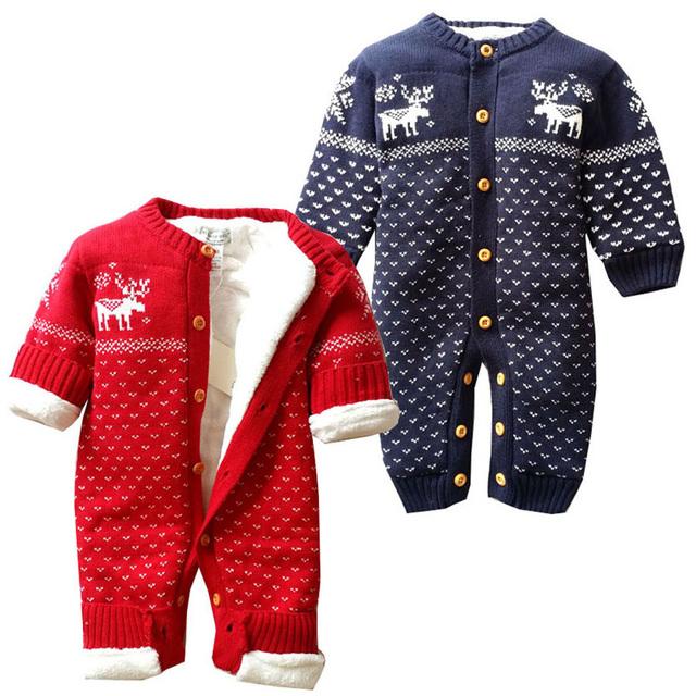 1 pcs Frete Grátis! novo Inverno de Algodão Grosso Macacão de Bebê Natal Alce Parágrafo Escalada Roupas Roupas de Recém-nascidos Do Bebê Romper TLL0075