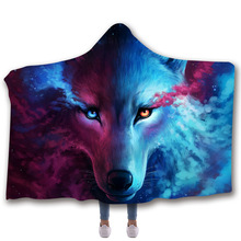 Wolf Hooded Blanket For Home Travel Picnic 3D Printed Fleece Sofa Wearable Warm Throw Adults Childs