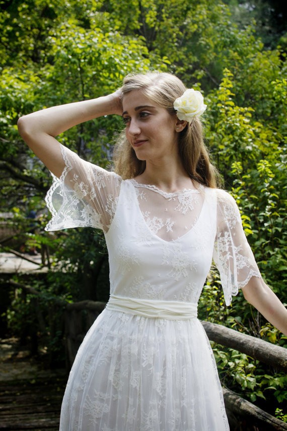 Aliexpress Buy Rustic Vintage 2017 Boho Lace Bohemian Wedding Dresses New Arrival Long Sheer Back Bridal Gown With Hafl Sleeves Robe De Mariage From