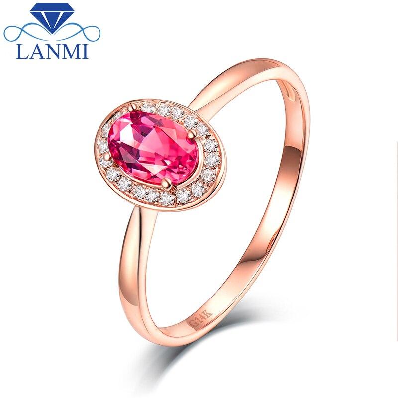 Dámské zásnubní prsteny skutečné 14K růžové zlato přírodní růžová turmalín pravý diamantový prsten šperky dárkový večírek drahokam prsten pro ženy