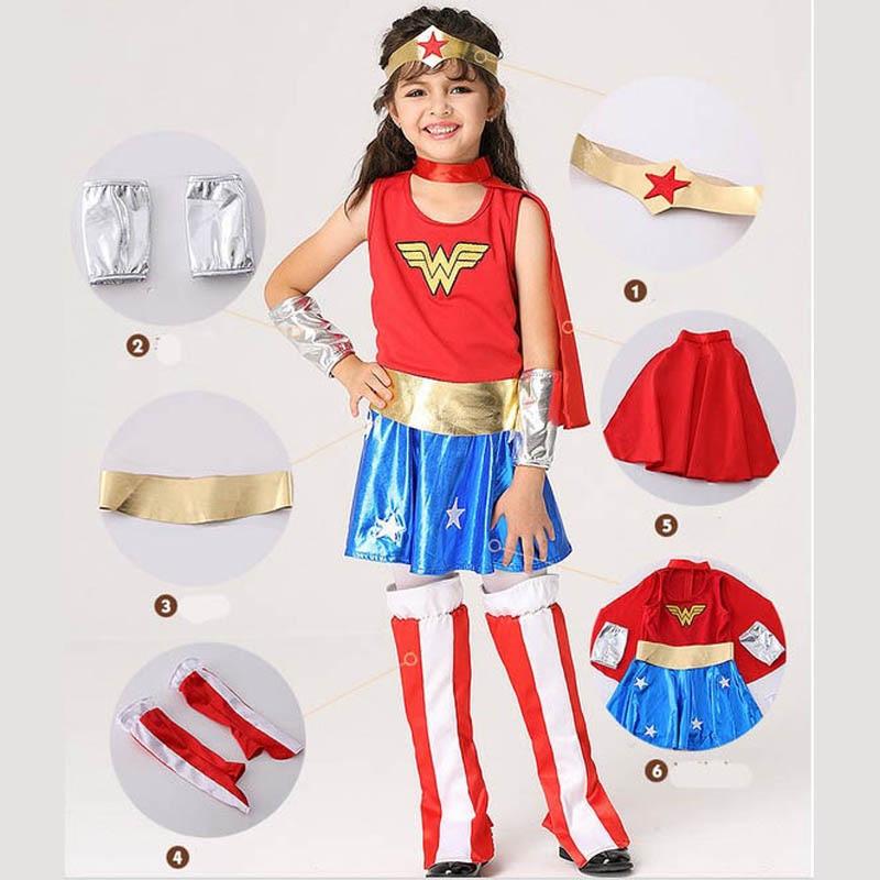 Wonder Woman Halloween Costume Kids.Us 16 72 16 Off Ktlparty Super Girl Ladies Children Kid Wonder Woman Costume Fancy Dress Halloween Customes Blue Women Cape Costumes In Movie Tv