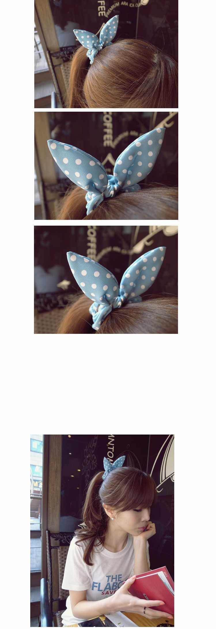 HTB1UvdFKXXXXXb6XpXXq6xXFXXXA Cute Polka Dot Rabbit Ears Hair Tie For Women - Various Styles