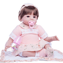 Princess Anna 22in 55cm baby reborn doll silicone reborn babies dolls girl lifelike toys birthday gift new silicone reborn dolls realistic natural babies toys for girls lifelike reborn babies birthday gift blue princess doll