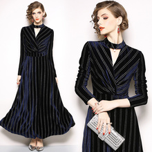 Winter fall Fashion New 2018 Elegant black Lace Party Dress High Quality Women Long Sleeve Casual Dresses vestidos 962B3