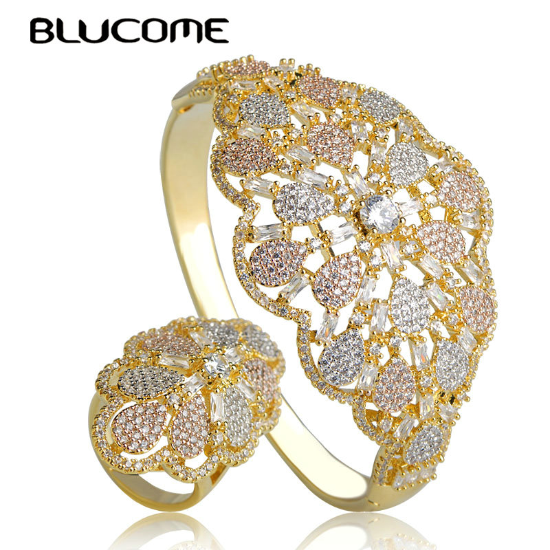 Blucome Classic Shiny Zircon Big Flower Bangle Ring Set 3 Tones Copper Hollow Out Jewelry Set For Women Wedding Accessories Gift elegant faux zircon hollow out anklet for women