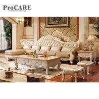 Classic White Genuine Leather Solid Modern Sofa Set A953B