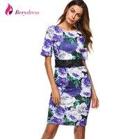Berydress Elegant Women Cocktail Party Short Sleeve Midi Dress Sheath Bodycon Knee Length Floral Print Flowers