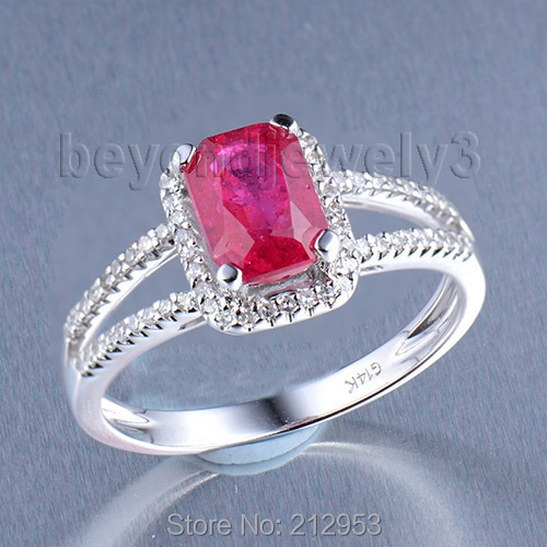 Emerald Cut Ruby Jewelry Vintage Solid 14Kt White Gold 2.67ct Natural Diamond Engagement Red Ruby Wedding Ring For Sale