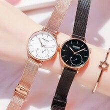 Nuevos relojes de cuarzo a la moda para mujer, relojes de lujo de alta marca para mujer, relojes de pulsera para mujer, correa de malla de acero impermeable