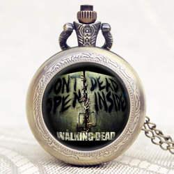 Модные драмы ходячих мертвецов Дизайн кварцевые карманные часы Сеть Цепочки и ожерелья подвеска для американских драма Поклонники