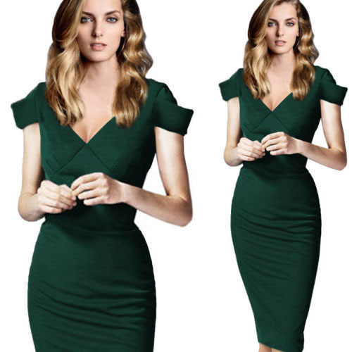 860adec46f US $19.28 |New Women Green Dress elegant V Neck Sexy Slim OL Midi 2015  Woman Dresses Bodycon Party Evening Business Clothing Plus Size XL-in  Dresses ...
