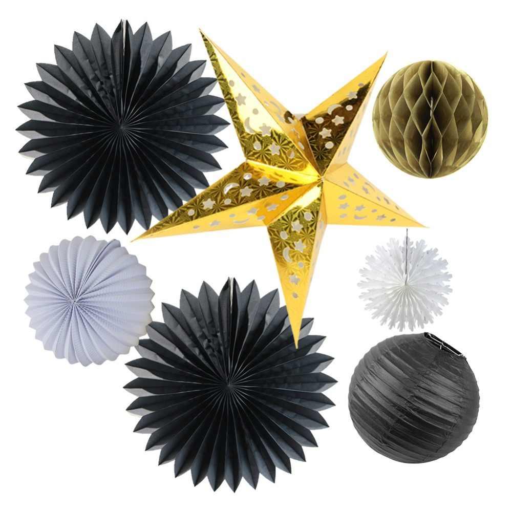7pcs Black Gold White Party Decoration Set Paper Fans Laser Cut Star Chinese