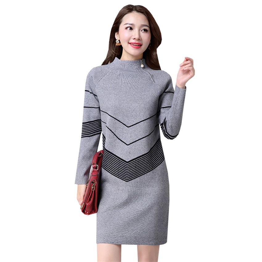 2017 New Women Sweater Dress Autumn Winter Zipper Pullovers Turtleneck Knitted Dresses Ladies Slim Bottoming Vestidos Robe AB656 women turtleneck front pocket sweater dress