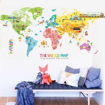 Cartoon Animal Map Home Decoration Vinyl Wall Stickers DIY 95*195CM World Map Kids Room Poster