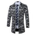 Moda Listrado Zebra Pattern Misturas Trench Coat Masculino de Manga Comprida Casaco de lã Homens Jaqueta de Inverno 2016 Outerwear Fino Plus Size N88