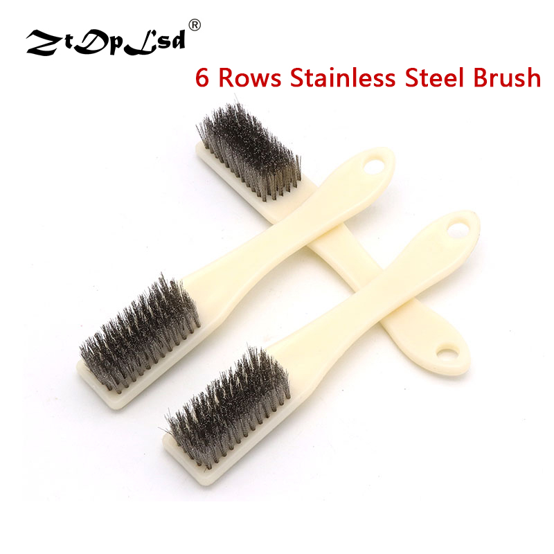1PCS 6 Rows Wire Brush Stainless Steel Remove Rust Brushes Mini Brass Cleaning Polishing Detail Metal Clean Tools Home Kits