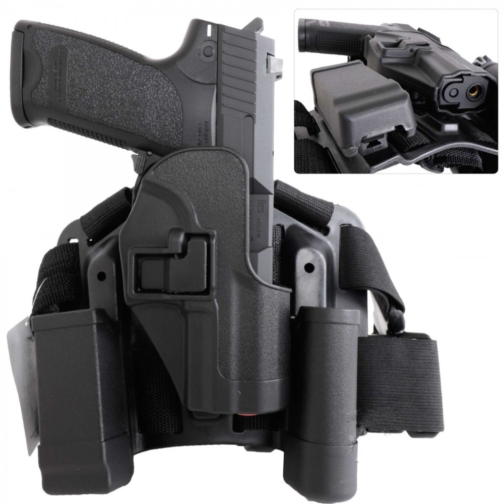 HK USP Compact CQC Tactical Drop Leg Gun Holster Magazine Pouch Hunting Accessories Airsoft Pistol Hand Gun Case Holder