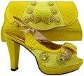 Vestido de novia a juego de tacón alto zapatos Italianos y bolsos a juego set envío de color amarillo de las señoras Africanas zapatos deliveried por DHL