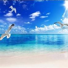 Large custom modern minimalist blue sky and white cloud sea 3D Mediterranean landscape interior sofa background wall