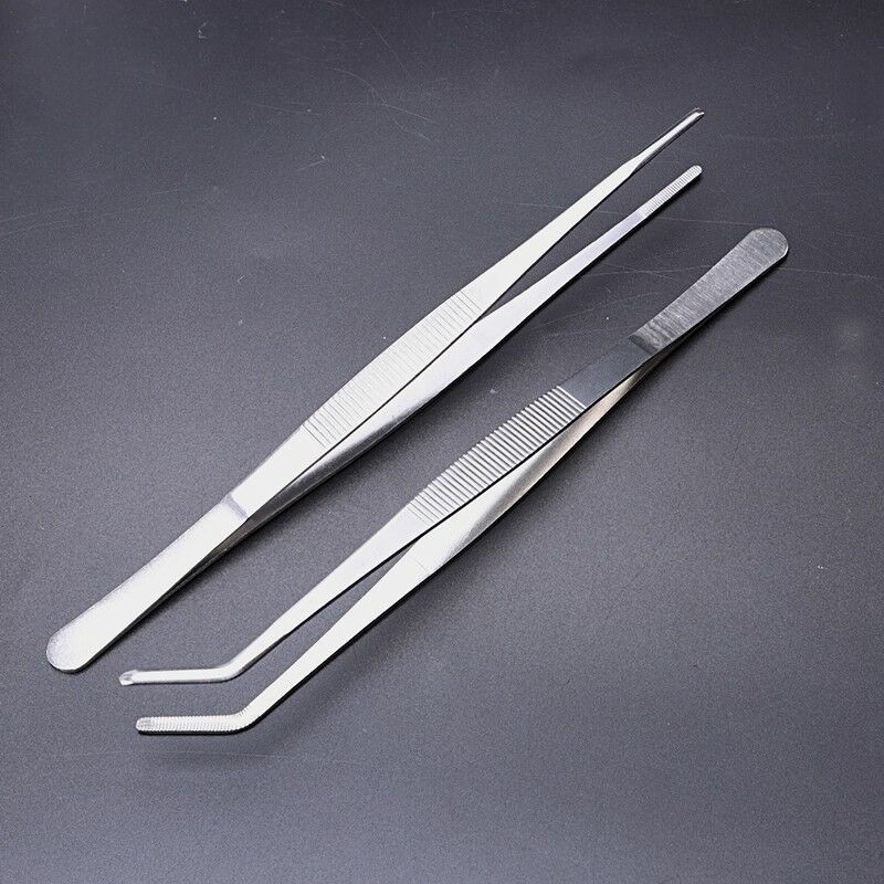 7 Sizes Barbecue Food Tong Stainless Steel Straight Curved Tweezer Toothed Tweezer Home Medical Garden Kitchen BBQ Tool 2Pcs/set