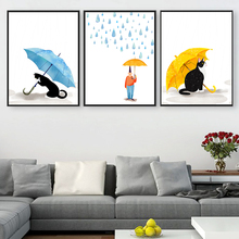 Watercolor Modern Cute Cartoon Cat Art Animals Posters Prints Canvas Painting Wall Picture Nordic Home Decoration  No Frame