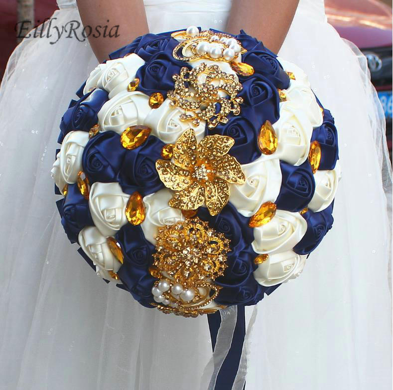 Dark Blue Flowers For Wedding Bouquets: Dark Royal Blue Vintage Bridal Bouquet For Wedding Gold