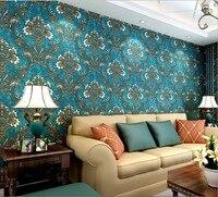 Hoàng gia cao cấp trang trí Châu Âu loại 3d không dệt hình nền Siêu dày rắn thiết lập TV phòng khách tường dán màu xanh đậm