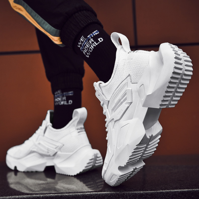 New FashionTrendy Sneakers Men Upper Breathable Chunky Shoes Anti Slip Vulcanized Hombre Black White Leisure Increase Yasialiya in Men 39 s Vulcanize Shoes from Shoes