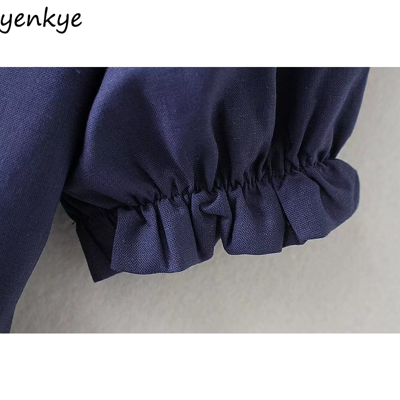 Sweet Women Solid Color Linen Long Dress Female Turn-down Collar Short Sleeve A-line Casual Summer Dress XZWM18030