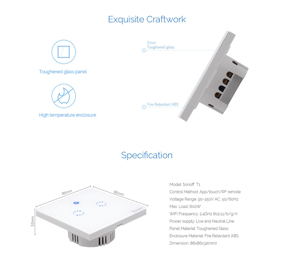 Sonoff T1 Eu Smart Wifi Wall Touch Light Switch 1 Gang 2 Wire 10a No Neutral Presence Detector Timer Power 600w Dimension 86mm86mm Standard Control Methods App Ewelink Rf Remote Wireless 24ghz 433mhz