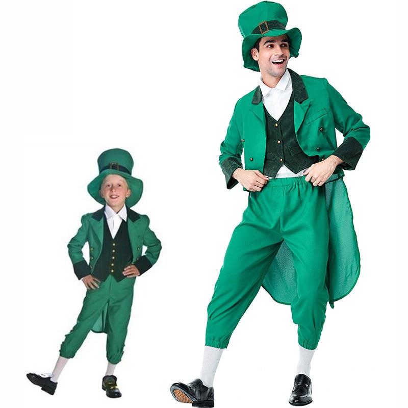 St. Patrick's Day Irish Leprechaun Shamrocks Costumes Cosplay Full Set For Boys Men Halloween Ball Costume Fancy Dress