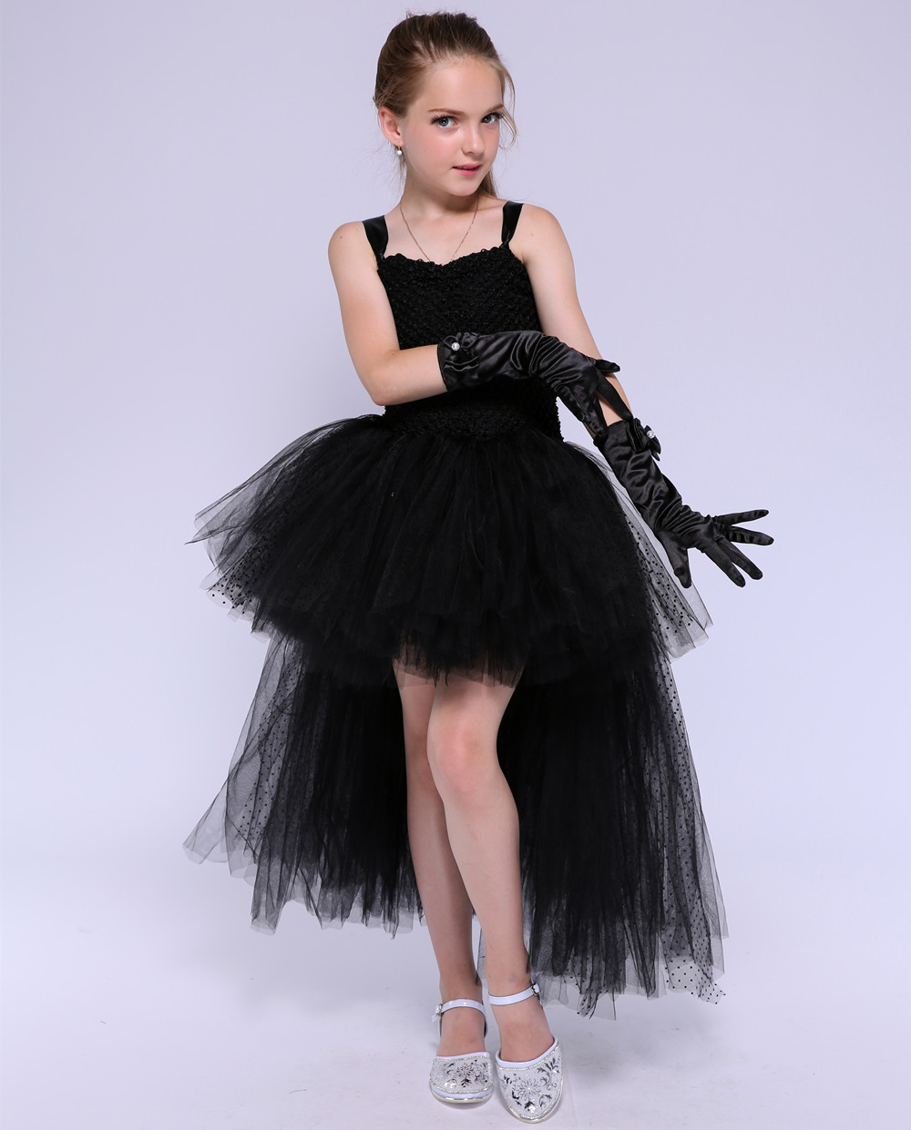 Elegant V Neck Tulle Tutu Dress for Children Flower Girls Long Tail Wedding Party Prom Ball Gown Dresses Kids Halloween Clothing