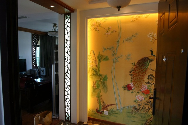 Customized Hand Painted Silk Wallpaper Painting Magnolia Flower With Peacock Birds Wall Paper