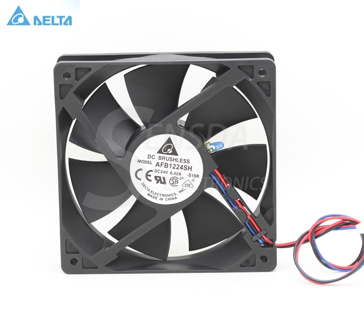 Delta AFB1224SH 12025 120mm 12cm DC 24V 0.42A tempreture sensor 3-pin server inverter cooling fans axial free shipping wholesale original delta delta afb0912uhe f00 9238 90mm 12v 3 0a server axial powerful cooling fans