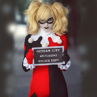 Free Shipping New 2015 Adult Classic Harley Quinn Cosplay Costume Fantasia Halloween Costum