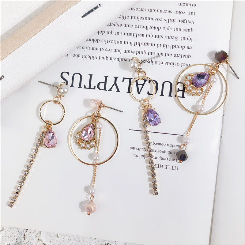 MENGJIQIAO 2018 Korean Big Small Circle Water Drop Crystal Asymmetric Earrings For Women Fashion Jewelry Rhinestone Pendientes