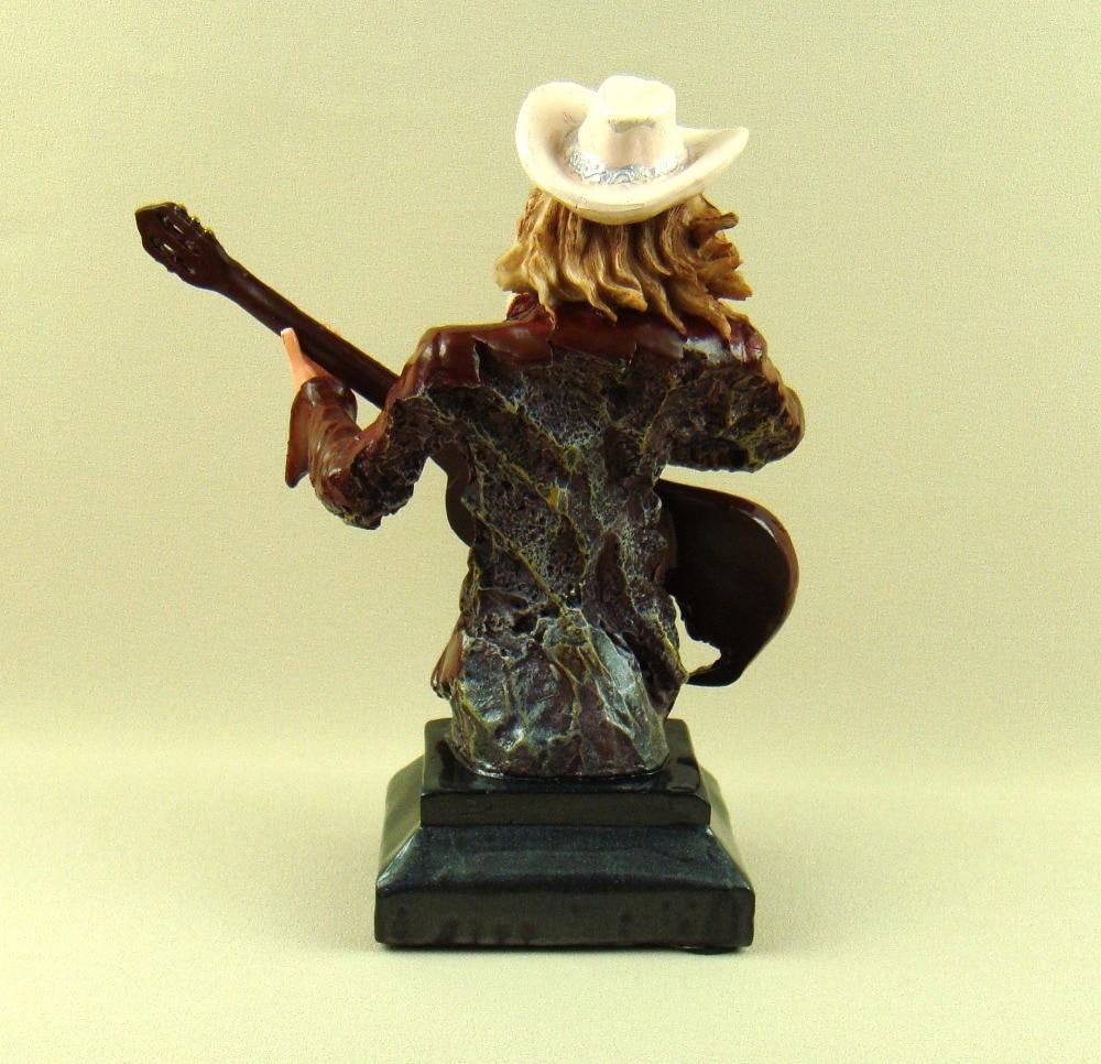 Américain West Country Pub bande guitare joueur Cowgirl buste Figurine décor résine plomb vocaliste Sculpture Art et artisanat ornement - 3